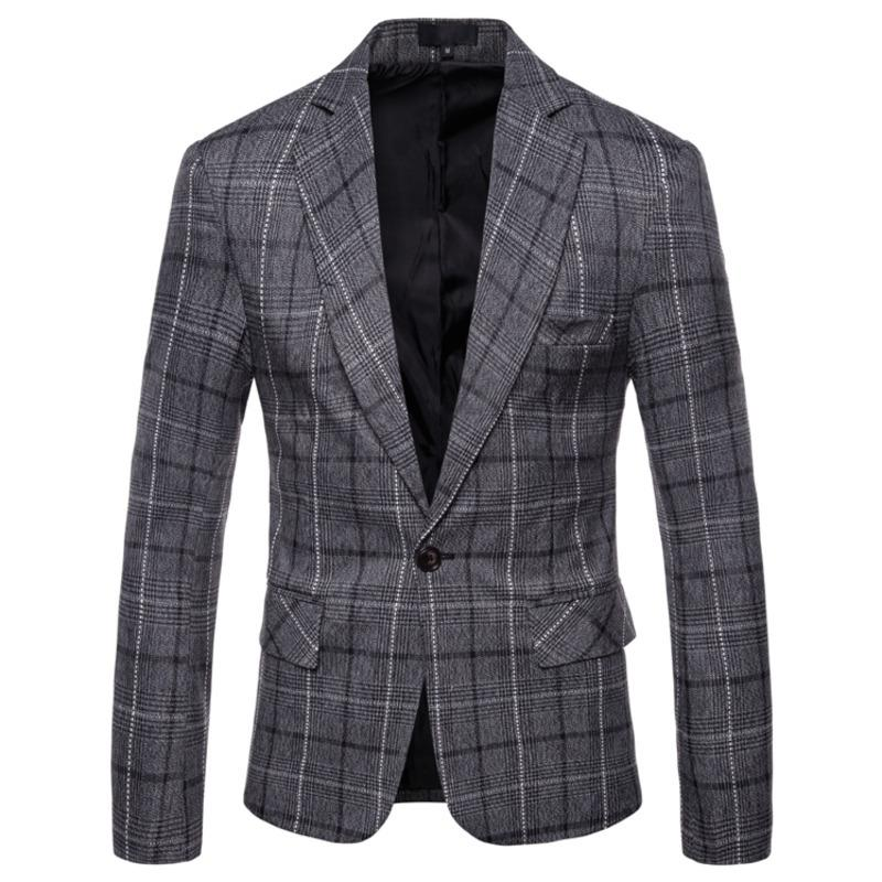 Men's Clothing New Autumn Blazer Men's British Wind Social Business Casual Plaid One Buckle Slim Dress Fashion Groom Dress
