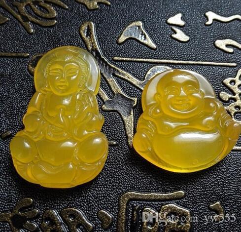 природный лед желтого халцедона Гуаньинь Будда кулон куриное масло желтый одной стороне Гуаньинь Будда нефрит кулон