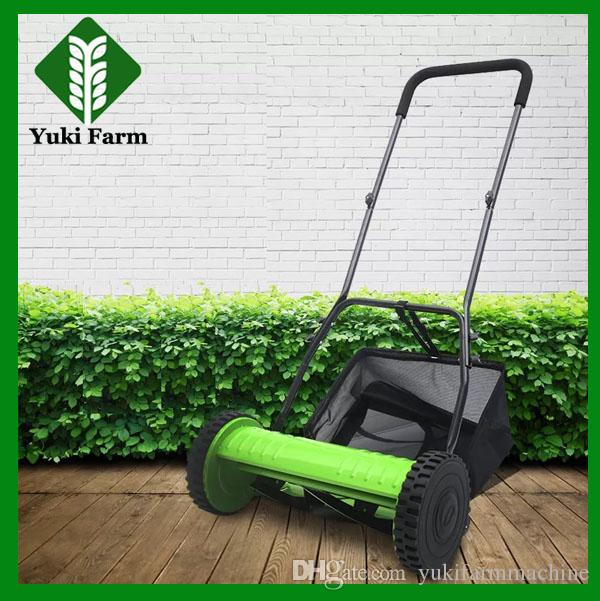 Hand push 16 inch lawn mower manual gardening tool lawnmower with straw bag drum grass mower garden trimmer tool