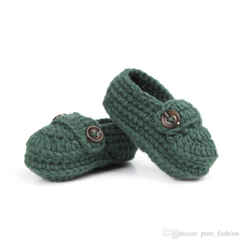 Fashion Buckle Baby Boy Shoes Handmade Knitting Crochet Booties Cheap Baby Crochet Shoes 10 cm 5pairs/10pcs