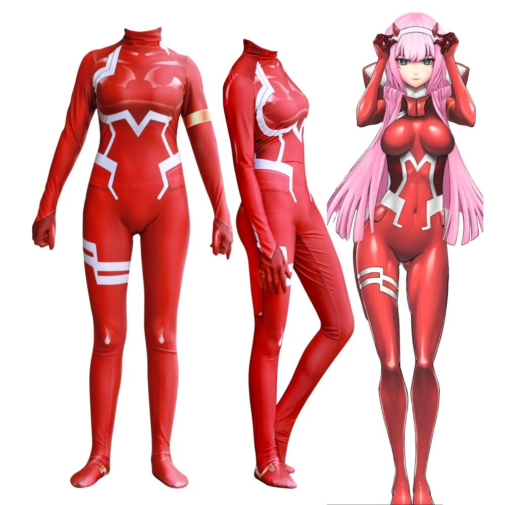 Anime 3D Women DARLING in the FRANXX 02 Zero Two Cosplay Costume Zentai Bodysuit Suit Jumpsuits