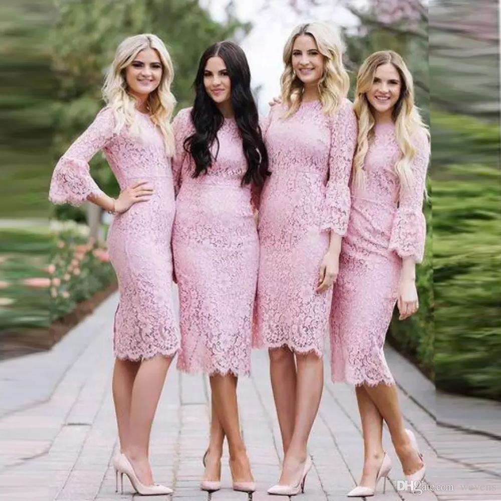 Compre Encantadores Vestidos De Dama De Honor De Color Rosa Hasta La ...