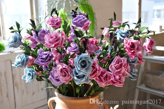 Моделирование многоцветный букет роз довольно Рождественская вечеринка мини Пион шелк искусственный цветок невесты Букет для домашнего декора