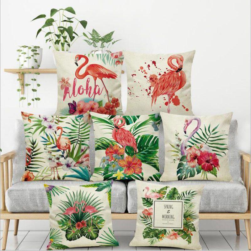 2018 venta al por mayor de dibujos animados Flamingo Style funda de almohada pájaros coloridos hoja almohada cubierta linda impresión animal cojín cubierta regalo de los niños