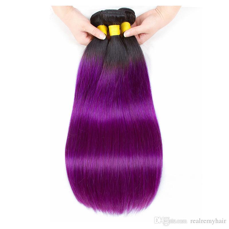 Two Tone 1B / Purple Gerade Menschliche Haarwebart 3/4 Bundles Großhandel Farbige Brasilianische Ombre Virgin Menschenhaarverlängerung Angebote