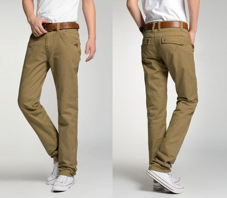 Nuevos pantalones casuales para hombres Bolsillo de algodón de moda Tamaño grande pantalones de pierna recta Pantalones largos Hombre Caqui negro verde del ejército 34 38