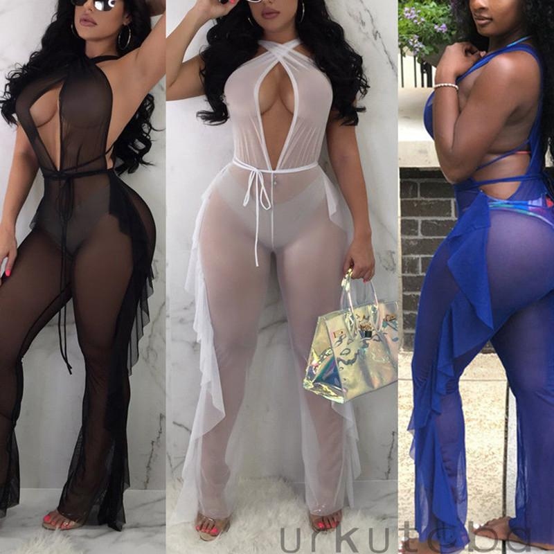 Elegant Sexy Jumpsuits Women Beach Sleeveless Solid Jumpsuit Loose Trousers Wide Leg Pants Rompers Holiday Belted Leotard