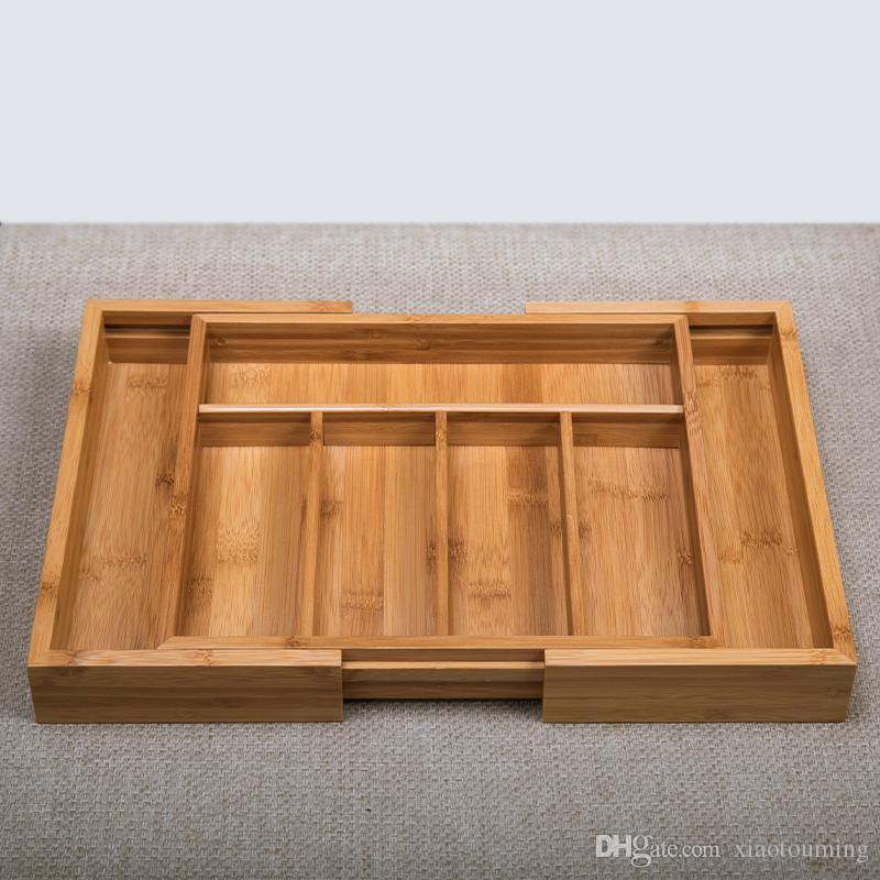 Compre 1 Unids Bamboo Ajustable Caja De Almacenamiento Para