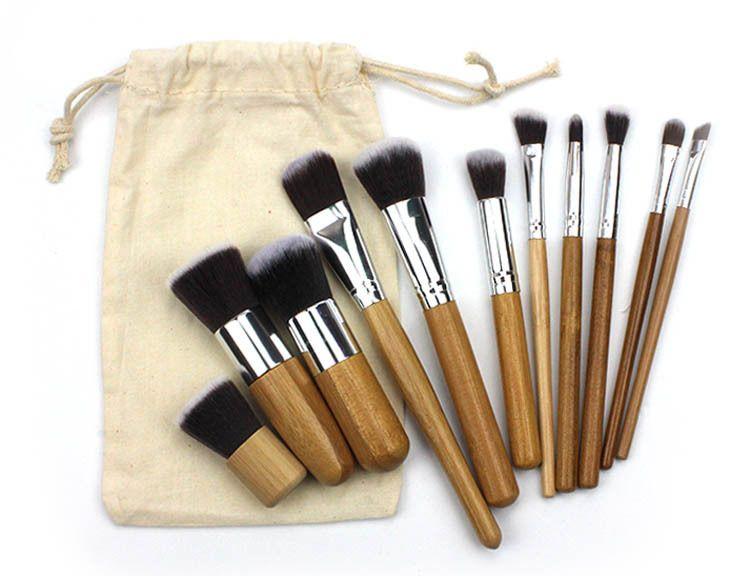 2020 Professional Makeup Brushes Set 11pcs bamboo handle makeup brush+linen bag cosmetics brush kits tools 17.5*2.4cm
