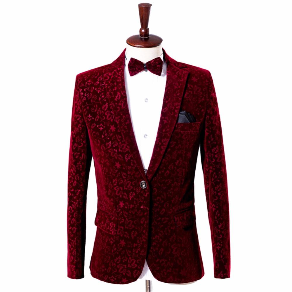 Uomo Wine Red Velvet Blazer Jacket Borgogna Suit Jacket Costume Homme Men Velvet Blazer Homme Mens Stage Wear Floral