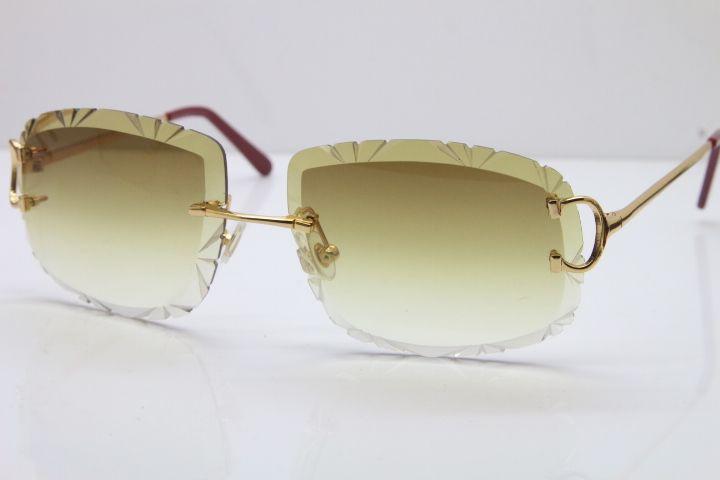 Livraison gratuite femmes ou homme Lunettes chaud unisexe Lunettes de soleil sans monture de lentille sculptée de l'extérieur de T8200762 hommes au volant lunettes