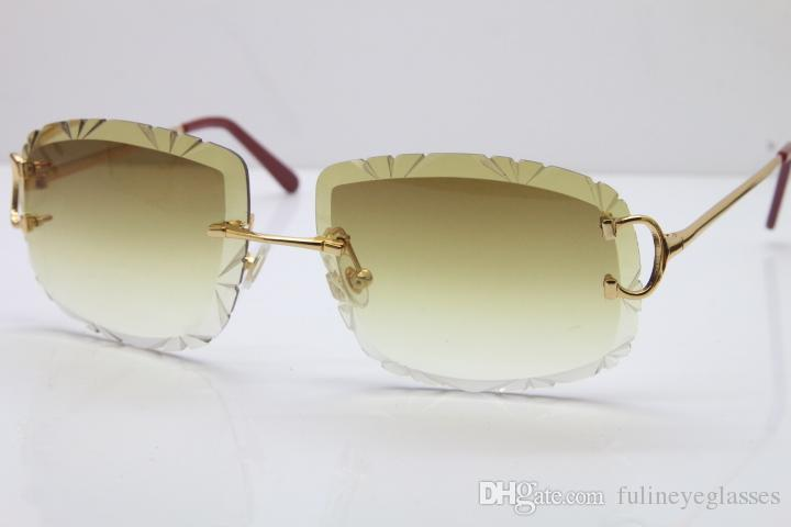 Free Shipping women or Man Glasses Hot Unisex Sun Glasses Rimless Carved lens T8200762 men Sunglasses outdoors driving glasses