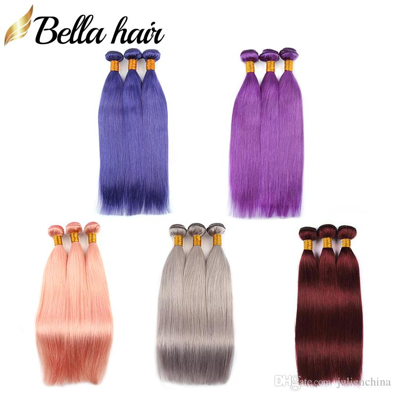 9A 3pcs/lot Colorful Hair Extensions Pink Blue Green Purple Grey Red Colors Human Hair Weaves Bundles Julienchina Bella Hair Factory Outlets