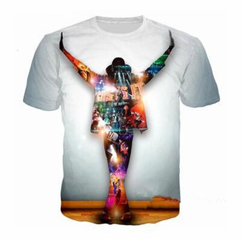 Nouveaux hommes / femmes 3D Star Michael Jackson Imprimer manches courtes Funny T-Shirts Harajuku Fitness Tops décontractés Shirt U1044