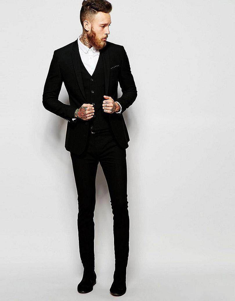 Black Three Piece Groom Tuxedos Deux Bouton Centre Vent Homme De Mariage Costume Beau Hommes D'affaires Dîner De Bal Blazer (Veste + Pantalon + Cravate + Gilet) 404