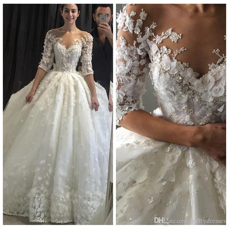 Sheer Half Sleeves Ball Gown Wedding Dresses 3D-Floral Appliques Vintage Lace Sheer Neck Puffy Bridal Dress 2018 Bridal Gowns Custom