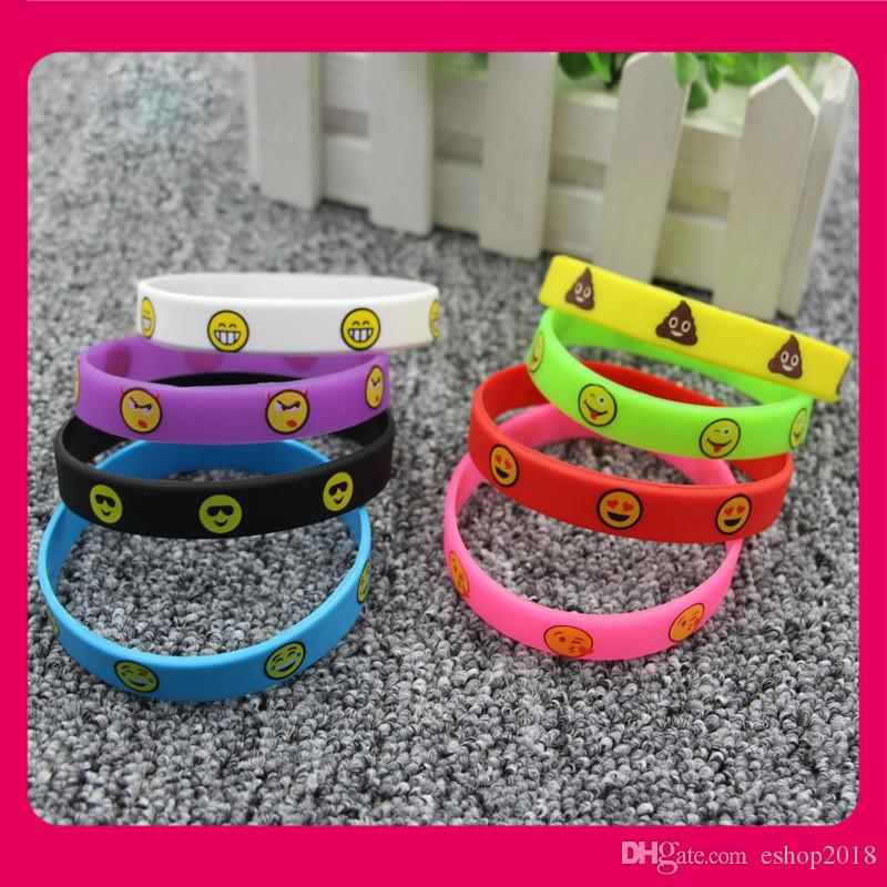 Lovely Emoji wristbands 8 colors Emoticon silicone bracelets cute printing wristbands kids toys promotion gifts 20.2x1.2cm