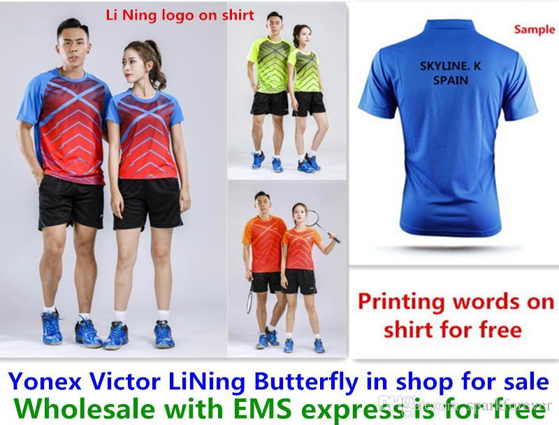 Gros EMS gratuitement, l'impression de texte gratuitement, de nouveaux vêtements de chemise de badminton tennis de table T vêtements de chemise de sport 128