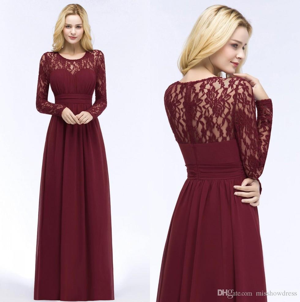 Elegant Long Sleeves Chiffon Long Bridesmaid Dresses Lace Top Ruched Bohemia Floor Length Wedding Guest Maid Of Honor Dresses CPS867