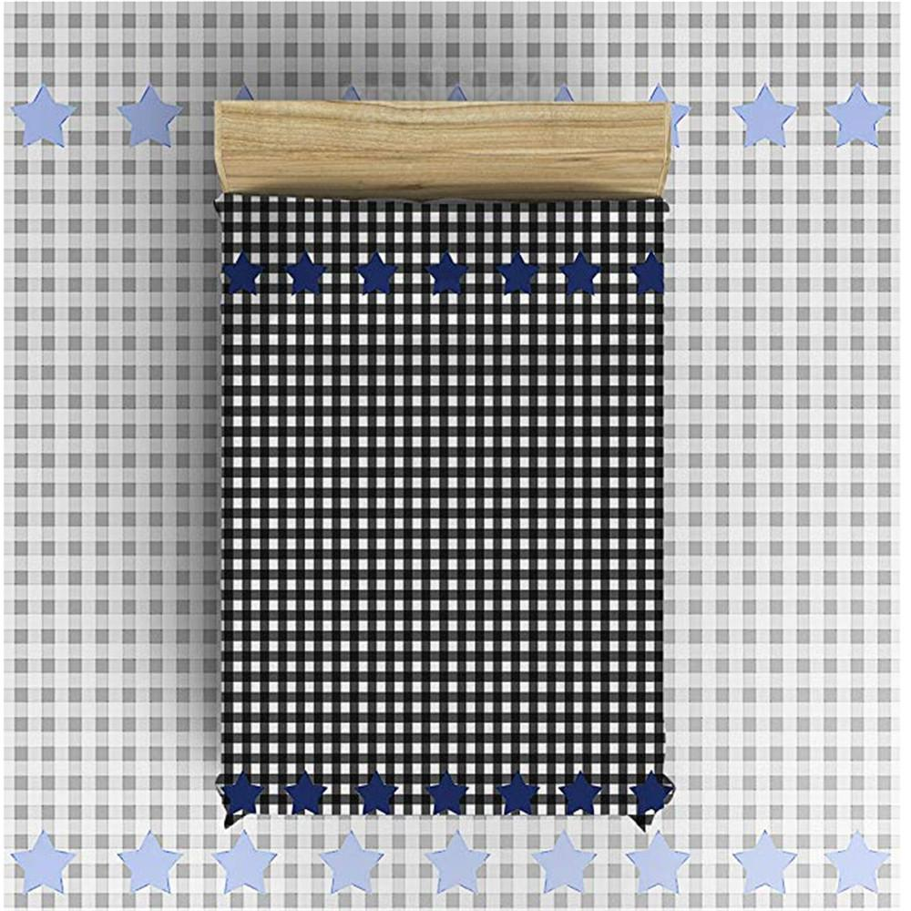 Manta de lana de franela Ligera y acogedora Cama de sofá Mantas Tela super suave Patrón de estrellas en blanco y negro