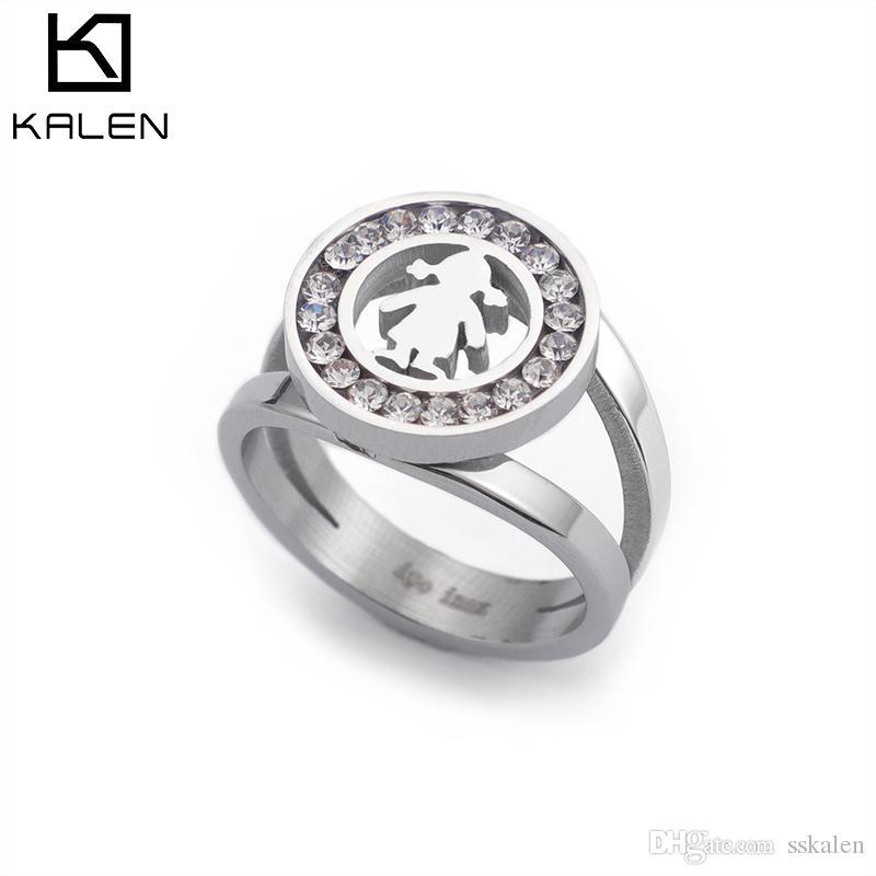 Кален кольца для женщин 2018 Серебряная девушка стиль из нержавеющей стали драгоценный камень (размер США #6 до #9)