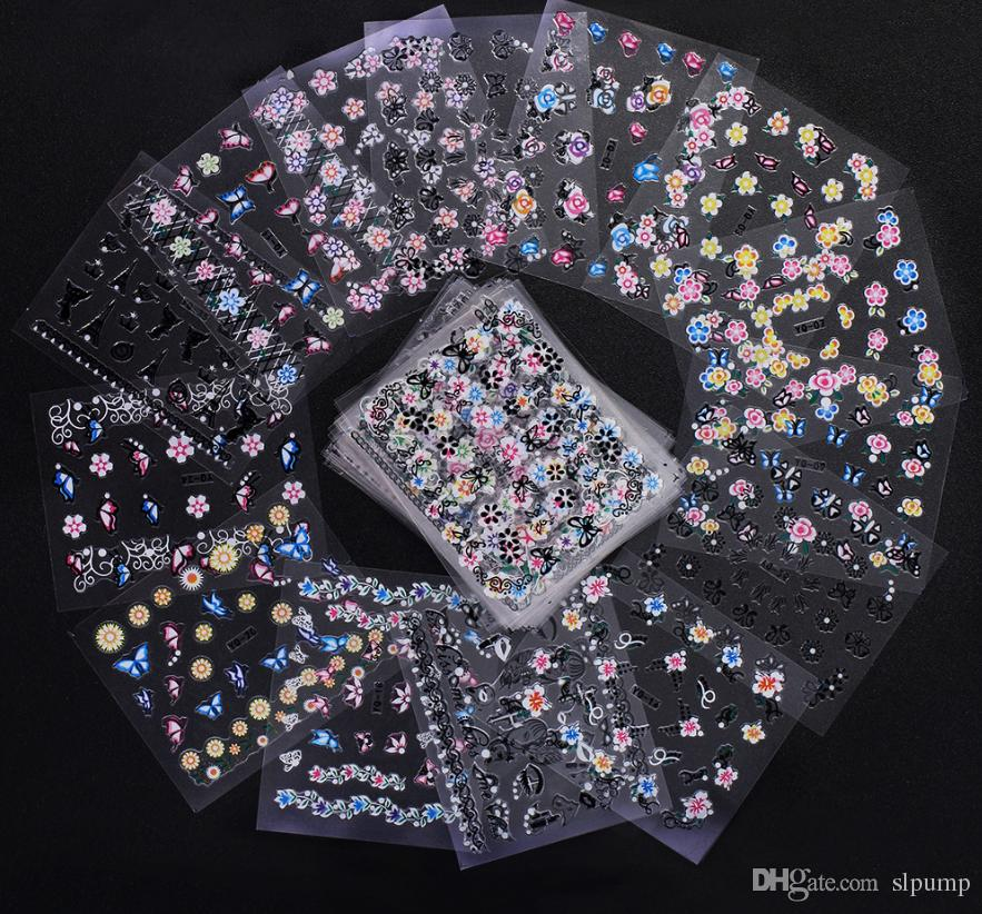 50 pcs/Set 3D Mix Color Floral Design Nail Art Stickers Decals Manicure Beautiful Fashion Accessories Decoration
