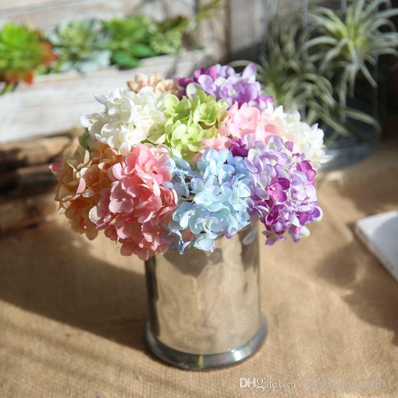 Hortensia artificial Acuarela Mini hortensia Novia ramo boda boda año nuevo accesorios de decoración para florero