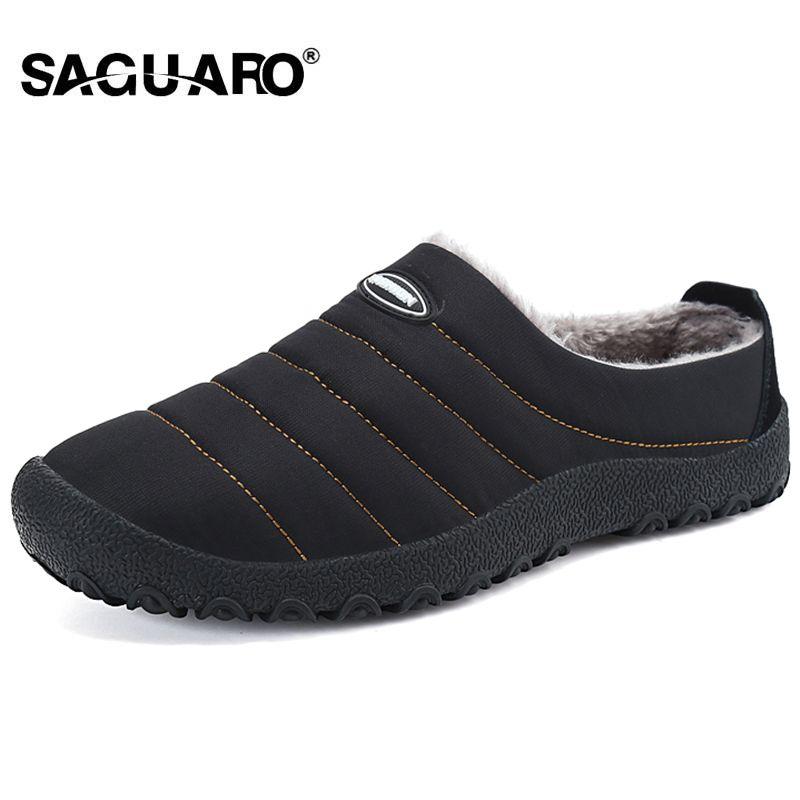 SAGUARO 겨울 남성 신발 봉제 남자 슬리퍼 양털 따뜻한 모피 두꺼운 면화 패딩 홈 슬리퍼 실내 플랫 신발 빅 사이즈 36-46