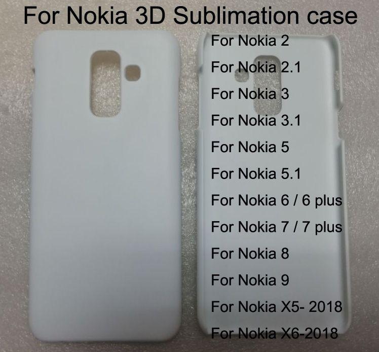 Caso de telefone de sublimação em branco para nokia 2 2.1 nokia 3 3.1 / 5 5.1 / 6 7 8 x5 x6 além de 3d hard pc impressão caso de telefone 10 peças / lote.