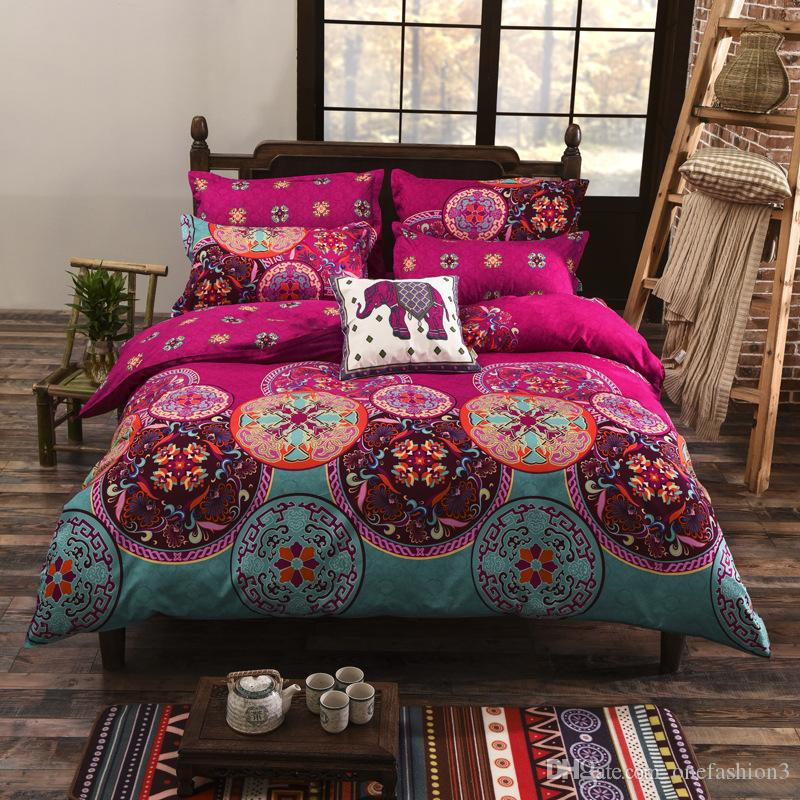 High Quality Bohemian Style Bedding set Floral Printed Bed linens Twin Queen King Size 4pcs Duvet Cover Flat Sheet Pillow case Hot sale