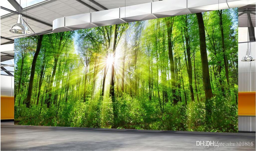 3D 벽지 사용자 지정 사진 포리스트 프리 나무를 통해 필터링하는 햇빛 홈 장식 3D 벽 벽화 벽 3 d