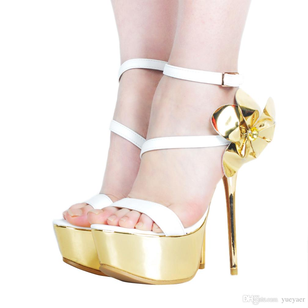 Zandina Das Mulheres Artesanal de Salto Alto Sandálias Sexy Flor De Ouro Deco Fivela Cintas de Verão Sapatos de Festa de Casamento de Baile de Finalistas Sapatos Da Moda A044