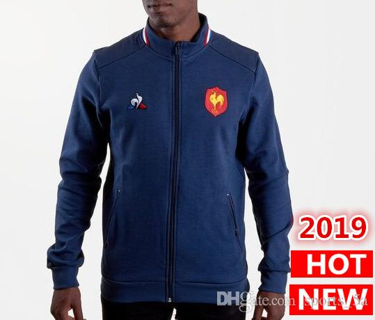 Best Quality 2019 France Rugby Jerseys Jacket 18 19 jersey France presentation collegiate Navy Jacket s-2xl