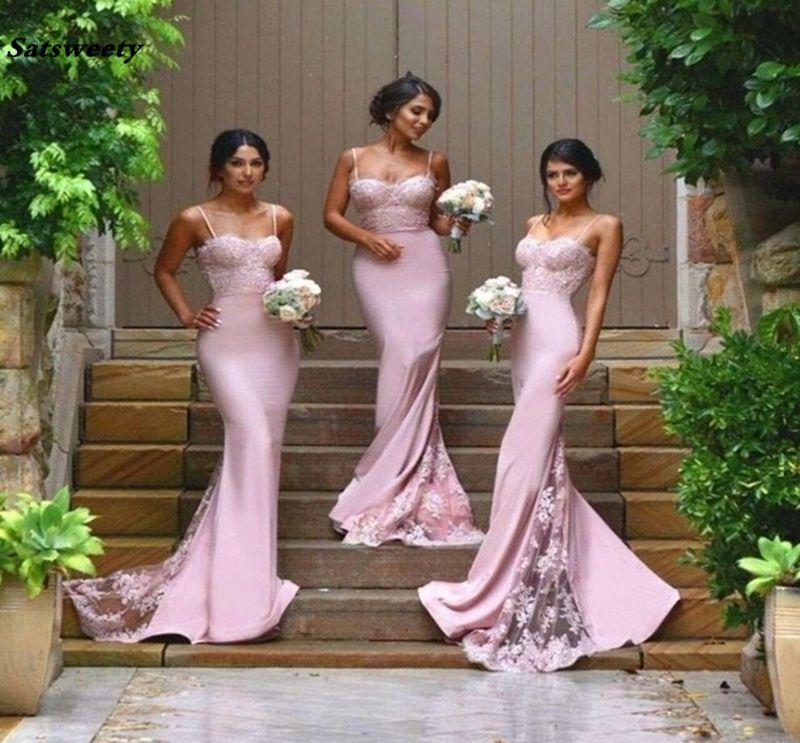 Sexy Bridesmaid Dresses Spaghetti Strap Vestido De Festa De Casamento Sheer Lace Applique Blush Peach Long Bridesmaid Dresses