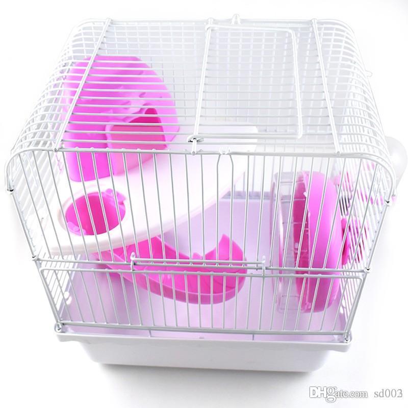 Capas dobles Hamster Cage Fácil de instalar Conveniente Plastic Guinea Pigs Casa Vida sana Cute Colorful Firm Durable 21jy dd
