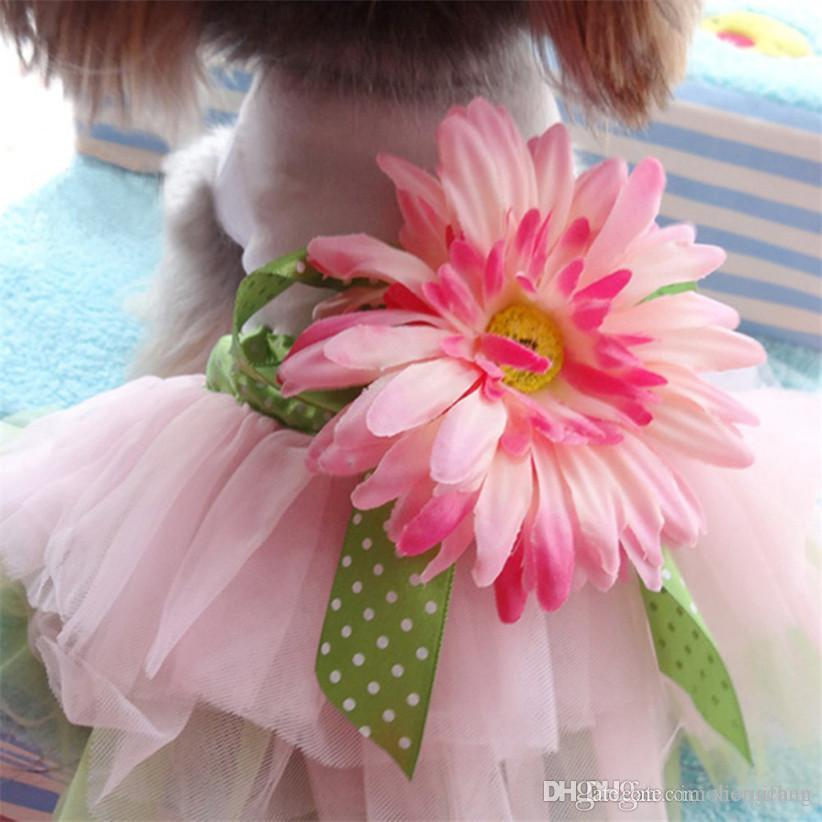 Transer Dog Dress Princess Gauze Mesh Lace Tutu Dresses Sleeveless Tee Dog Clothes with Sunflower For Small Pet Dogs
