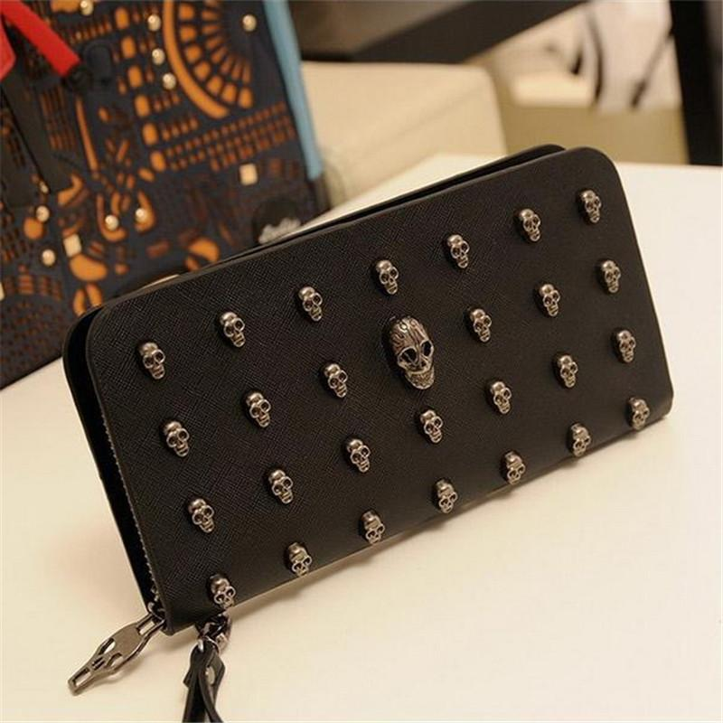 2018 Hot Sale Women Wallets Metal Skull Wallet Card Purse Leather Wristlet Portefeuille Handbags Carteira Feminina