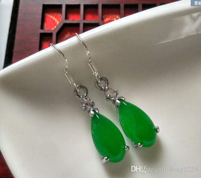 GE111715 pendientes de rectángulo Verde Jade