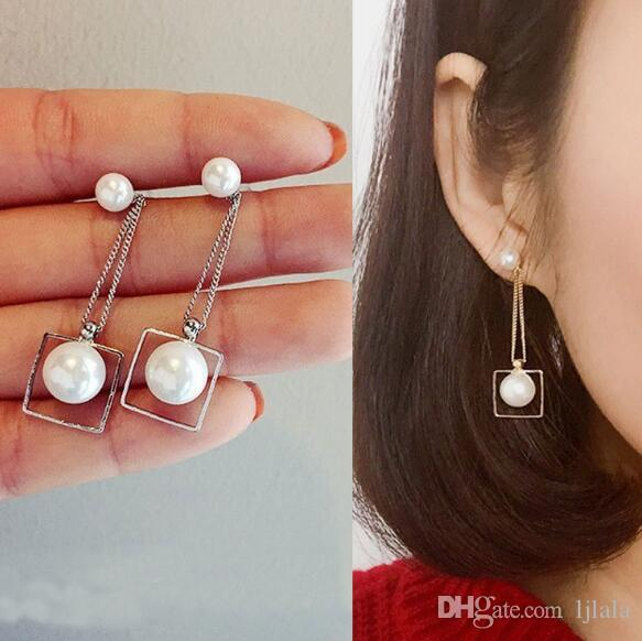 Creative fashion simple temperament wild long ladies pearl square earrings sweet temperament elegant tassel pearl earrings factory wholesale