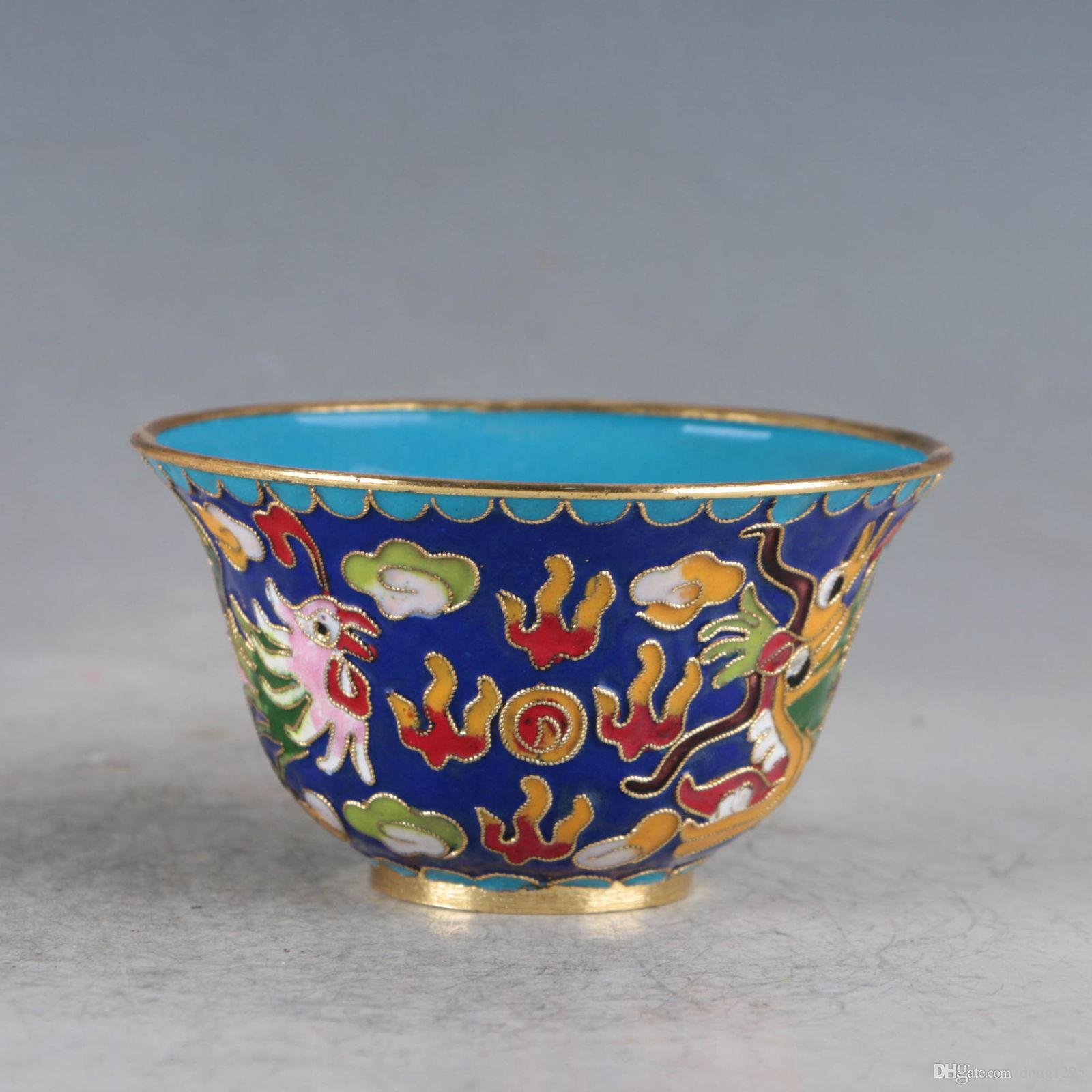CHINESE CLOISONNE HAND-MADE DRAGON&PHOENIX BOWL>>>Free shipping