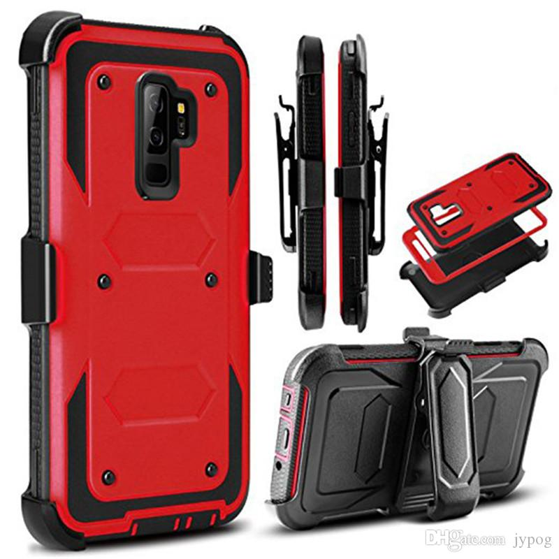 Phone Case for Samsung S9Plus 3in1 Defender Case Hard Rugged High Impact with Dust Plug and Swivel Belt Clip Case for S9 Plus