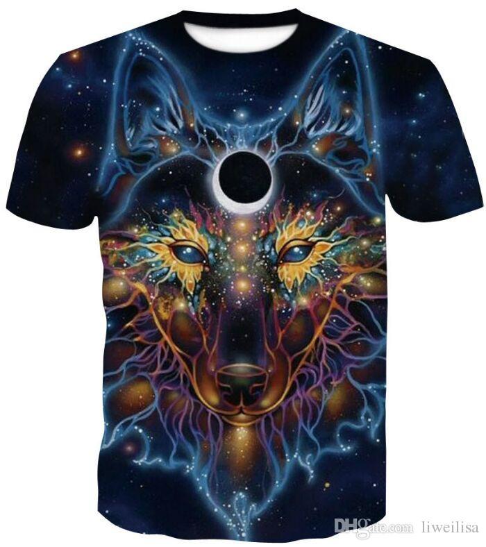 Drukuj Lonely Wolf Najnowszy Harajuku Wolf 3D Print Cool T-Shirt Mężczyźni / Kobiety Lato Topy Tees T Shirt Moda Koszulki M- 4XL