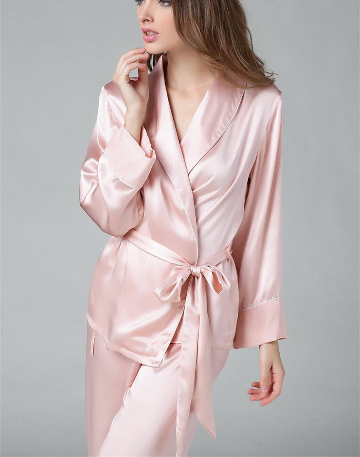 Conjunto de Pijama de 100% Mulheres de Seda Pura Com Cinto Sleepwear Camisola M L XL YM008