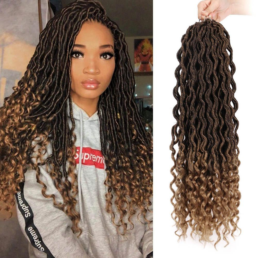 Hot! Goddess Locs Crochet Braids 18 Inch Soft Natural Kanekalon Synthetic Hair Extension 24 Stands/Pack Goddess Faux Locks Hair for Women