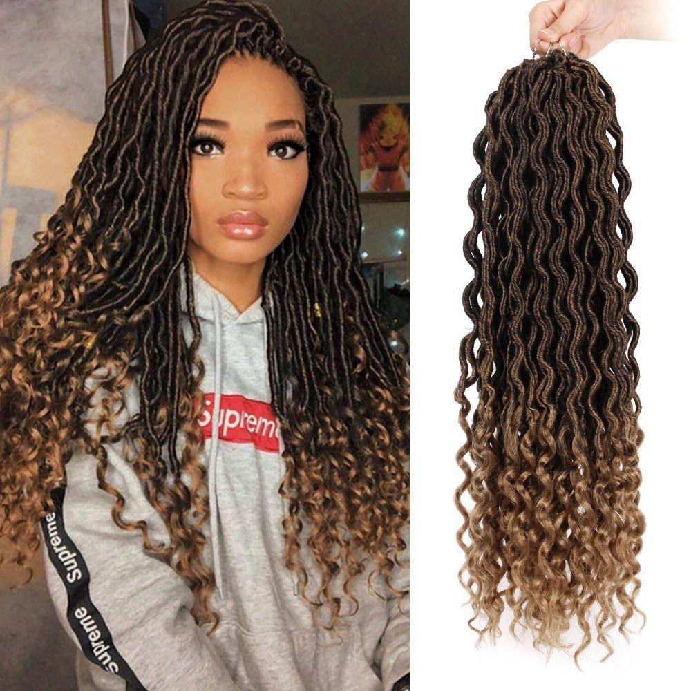 Hot! Goddess Locs Crochet Braids 18 Inch Soft Natural Kanekalon Synthetic Hair Extension 24 Stands/Pack Goddess Faux Locks Hair for Women