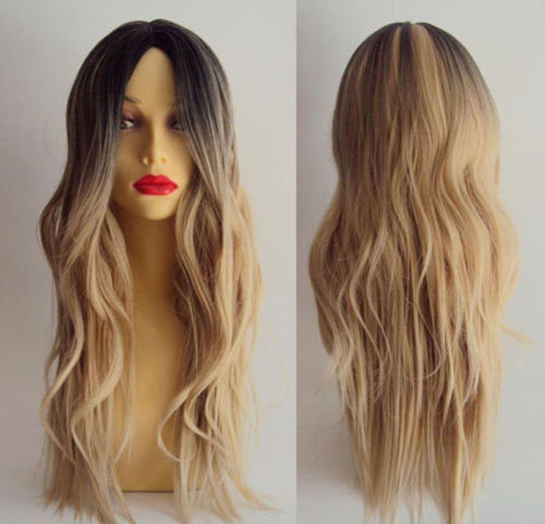 Femmes Longs Cheveux Ondulés Bouclés Perruque Complète Cosplay Noir Racine Ombre Blonde Costume