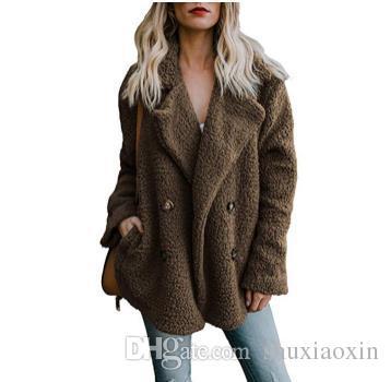 Горячий стиль женской шерстяной ткани с мягким ворсом нового фонда осенних зим 2018 года пуговица карман однобортный отворот пальто