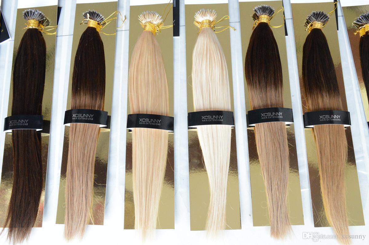 "XCSUNNY Extensions de cheveux nano perle 18 ""20"" Extensions de cheveux nano perle 100g / pk Remy indien + 100beads Extensions de cheveux nano pointe"
