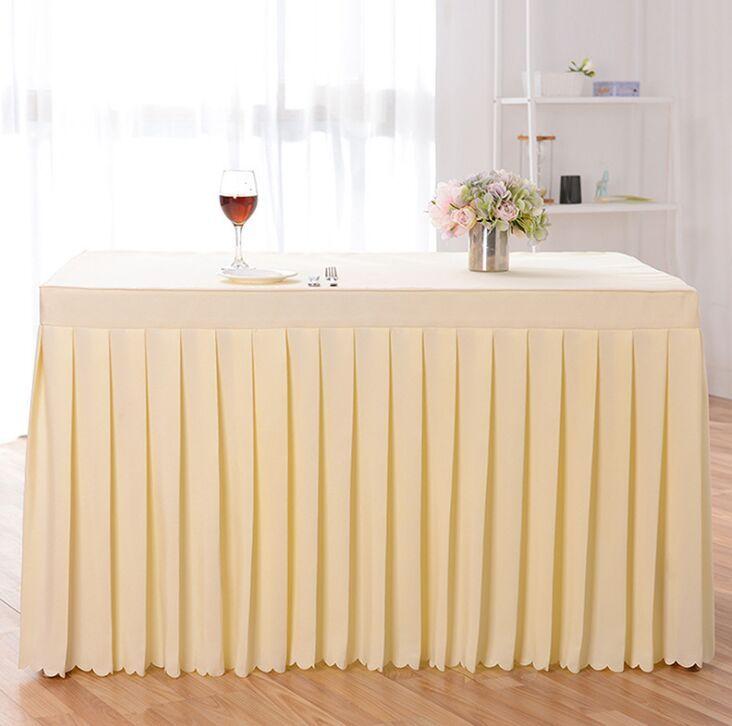 Tischdecke Fest Farbe Tischdecke Tisch Rock Hochzeit Meeting Dekorhotel Tabellen-Tuch 140 * 60 * 75cm