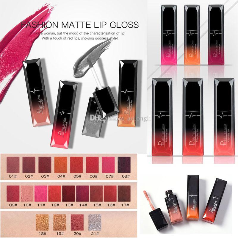 21 Colors Pudaier matte liquid Lip gloss Non-stick Cup Velvet Lipstick Nude matte Lipgloss Waterproof Metal Color Makeup attactive lips